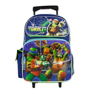 "TMNT Teenage Mutant Ninja Turtle Boys 16"" School Rolling Backpack Bag"