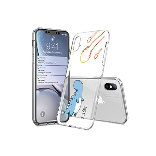 (Clear Dinosaur Funny Phone Cases Cover for iPhone Xs Max XR X 5 5s SE 6 6S 7 8 Plus Soft Cartoon Animal Back Cover Shell,Blue Dinosaur,for iPhone)