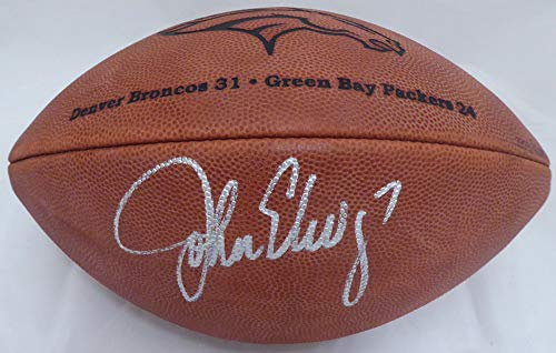 (John Elway Autographed Official Super Bowl XXXII Leather NFL Football Denver Broncos PSA/DNA #AE99469)