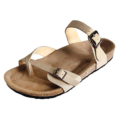 (TOOPOOT Summer Solid Color Thong Sandals Buckle Slippers Sandals Beach Shoes Khaki)