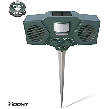 Hoont Powerful Solar Battery Powered Ultrasonic Outdoor Pest and Animal Repeller - Motion Activated [UPGRADED VERSION]