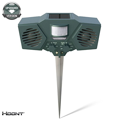 Electronic Animal Repellent - Hoont Powerful Solar Battery Powered Ultrasonic Outdoor Pest and Animal Repeller - Motion Activated [UPGRADED VERSION]