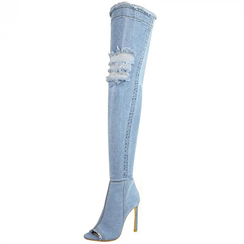 Womens Stretch High Blue Denim Thigh Stilettos Open Over High Kick Footwear Boots Light Heel Toe Knee The Denim qEwn5BC