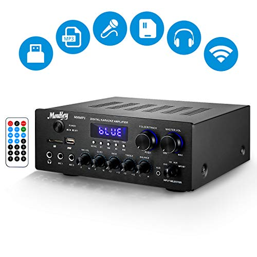 Moukey MAMP1 Wireless BT Power Amplifier System - 220W Dual Channel Sound Audio Stereo Receiver w/USB, SD, AUX, MIC in w/Echo, Radio, LED - for Home Theater Entertainment via RCA, Studio Use