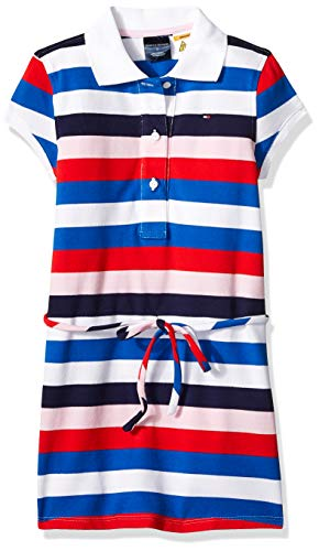 Tommy Hilfiger Girls' Adaptive Polo Dress with Magnetic Buttons and Tie Belt, White/Multi 8 (Adaptive Dress)
