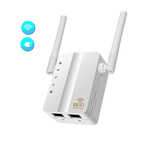 WiFi Extender, Pumoli WiFi-Repeater 300Mbps WiFi Range Extender Internet  Booster Signal Wireless WiFi Extender 2 External Antennas to WiFi Coverage