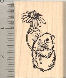 Cute Teddy Bear Hamster Rubber Stamp - Wood Mounted
