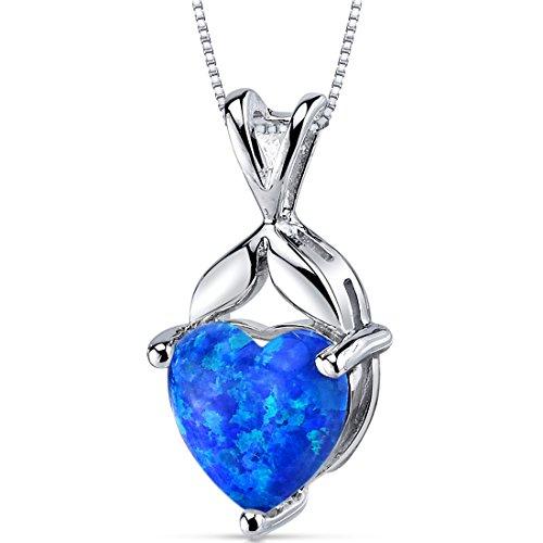 Green Opal Pendant - Created Blue-Green Opal Pendant Necklace Sterling Silver Heart Shape 2.50 Carats