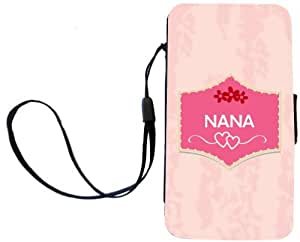 Rikki KnightTM Nana Name on Beautiful Tropical Pink Plaque Design Design Galaxy S4 PU Leather Wallet Type Flip Case with Magnetic Flap and Wristlet for Samsung Galaxy S4 i9500