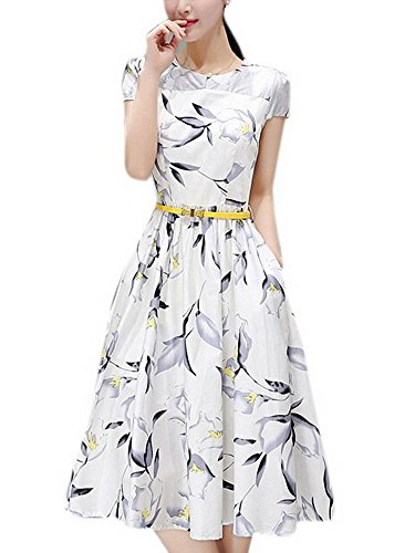 Olrain Womens Vintage Floral Printed Cap Sleeve Tea Dress with Belt 12 White