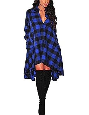 Tribear Women's Oversize Loose Asymmetrical Long Sleeve T Shirt Dress