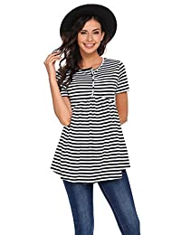 Meaneor Women's Striped Pleated Hem Top Short Sleeve Round Collar Tunic Shirt