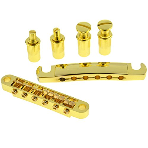 A Set of Gold Roller Saddle Tune-o-matic Guitar Bridge Tailpiece for LP Electric Guitar Replacement Parts