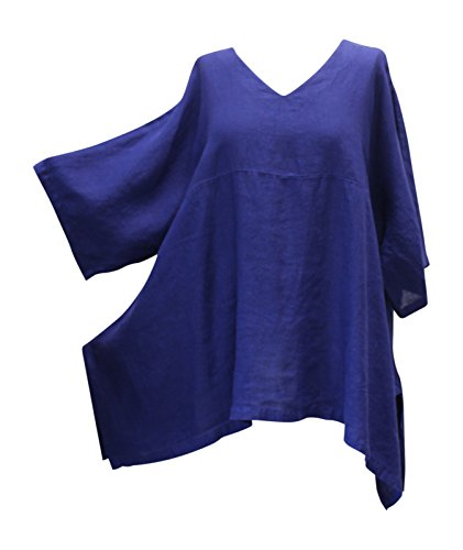 Match Point Women's Indigo Purple Linen Kimono Tunic Oversized Plus Size (2X)