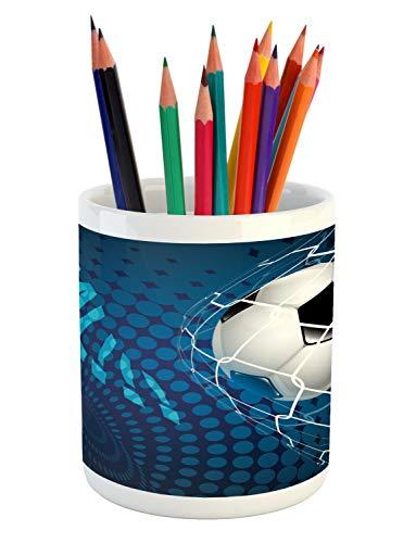 Dot European - Ambesonne Soccer Pencil Pen Holder, Goal Football Flying into Net Abstract Dots Pattern Background European Sport, Printed Ceramic Pencil Pen Holder for Desk Office Accessory, Blue Black White