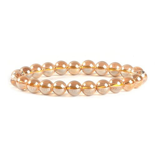 (Rose Gold Coated Clear Quartz Gemstone 8mm Round Beads Stretch Bracelet 7