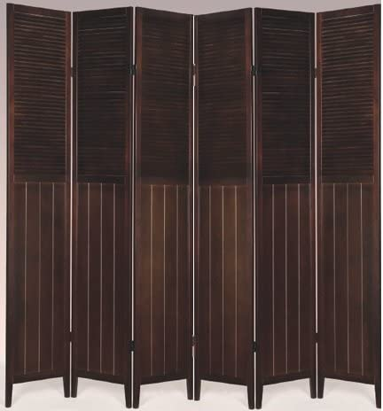 SQUARE FURNITURE Wood Oriental Shoji Screen Room Divider Espresso, 6 Panel