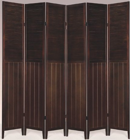 SQUARE FURNITURE Wood Oriental Shoji Screen/Room Divider (Espresso, 6 ()