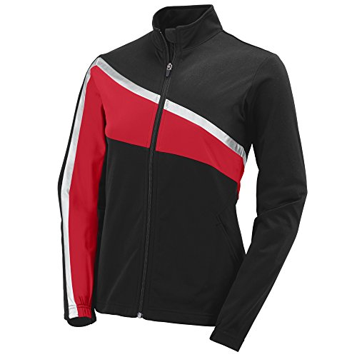 Augusta Sportswear 7736 Girls' Aurora Jacket, Large, Black/Red/Metallic Silver
