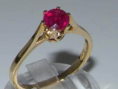Luxury 9ct Yellow Gold Ladies English Made Ruby Solitaire 0.73ct Engagement Ring AqDCaKpw72