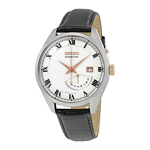 White Dial Black Leather Band Men's Watch ()