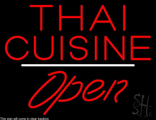 Thai Cuisine Script1 Open White Line Clear Backing Neon Sign 24'' Tall x 31'' Wide by The Sign Store