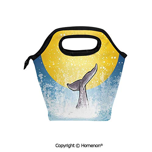 Insulated Neoprene Soft Lunch Bag Tote Handbag lunchbox,3d prited with Whales Tail in Ocean on Full Moon Diving in Water Swimmer Marine Animal,For School work Office Kids Lunch Box & Food Container