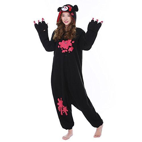 Real Bear Costumes (Sheena Cartoon Gloomy Bear Costume Adult Kigurumi Pajamas Onesies Winter Sleepwear (Large, Black))