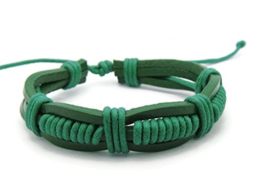 [APECTO Jewelry Trendy Leather Rope Friendship Wristband Cuff Adjustable Bracelet Handmade, GREEN] (Homemade Wolf Costumes For Kids)