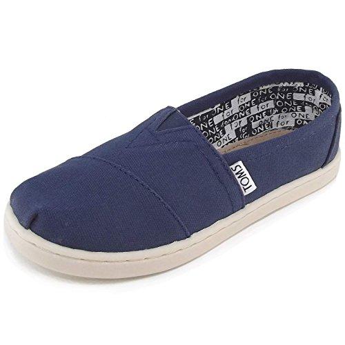 TOMs Unisex Alpargata Slip on Sneakers (Infant/Toddler/Big Kid), Navy, 1 M US Big Kid