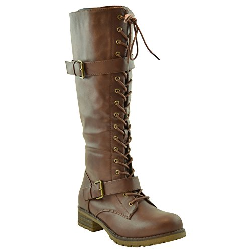 Brown Leather High Heel Boot (Womens Knee High Boots Faux Leather Lace Up Buckle Straps Shoes Brown SZ)