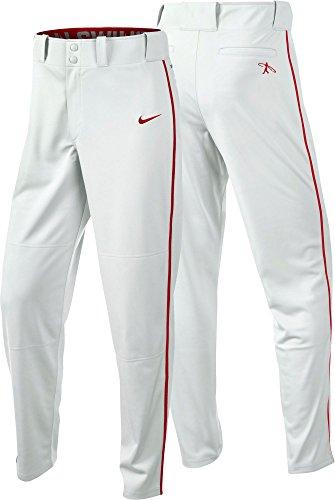 Nike Men's Swingman Dri-FIT Piped Baseball Pants (White/Red, Small) by NIKE