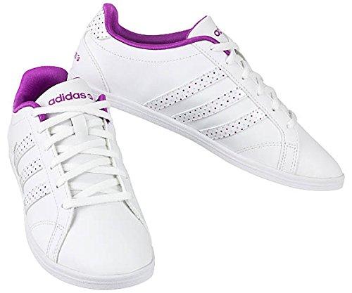 official photos c63a5 aa5de adidas CONEO QT VS W, Low-Top Femme - Blanc - Weiß (Weiß-Violett), 41  Amazon.fr Chaussures et Sacs