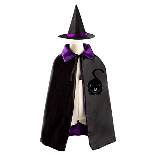 Red Orange Is The New Black Halloween Costume (Halloween Black Cat Costume Childrens Wizard Witch Cloak Cape Robe and Hat)