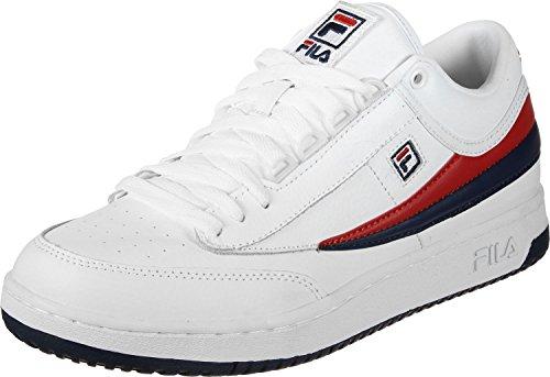 Fila Hombres T-1 Mid Fashion Sneaker Blanco, Fila Navy, Fila Red