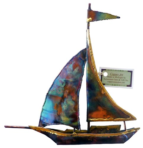 "8"" Copper Sailboat Nautical Wall Decor- Handmade in USA for Rustic Wall Decor in Your Home, Office or Living Room. Great Nautical Wall Decor by Keweenaw Gem and Gift"