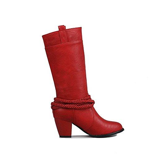 AalarDom Damen Rund Zehe Mittler Absatz Weiches Material Mitte-Spitze Rein Stiefel, Rot, 37