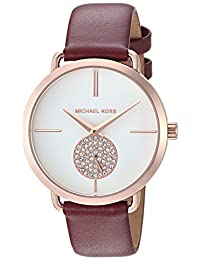Michael Kors Women's 'Portia' Quartz Stainless Steel and Leather Casual Watch, Color:Red (Model: MK2711)