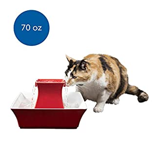 PetSafe Cat and Dog Water Fountain - Automatic Water Dispenser - Drinkwell Pagoda Ceramic Fountain for Pets - Filter Included - Red - 70 oz