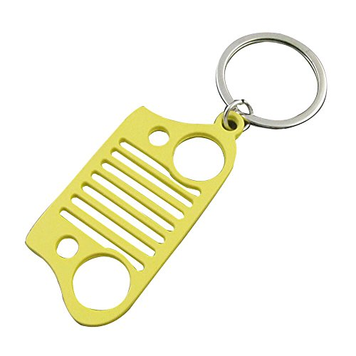 EVAPLUS Car Key Chain Keychain Key Ring for Jeep Wrangler Accessories Enthusiasts-Jeep Front Grill Design and Stainless Steel Material with 4 Colors (Yellow) (Jeep Keychain Yellow)
