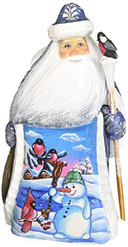 (G. Debrekht Happy Snowman Santa Hand-Painted Wood Carving)