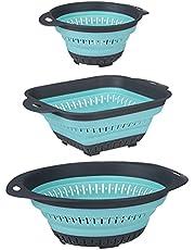 UMIKAkitchen Collapsible Colander Set, BPA Free Silicone Food Strainer with Plastic Handles, Vegetable and Fruit Can Foldable Colander Strainer Dishwasher Safe,3pcs