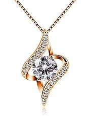 B.Catcher donne collana in argento con pendente in zircone,Argento,Oro rosa
