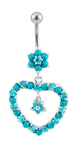 Turquoise & aqua gem Heart flower dangle Belly button navel Ring piercing bar body jewelry 14g -