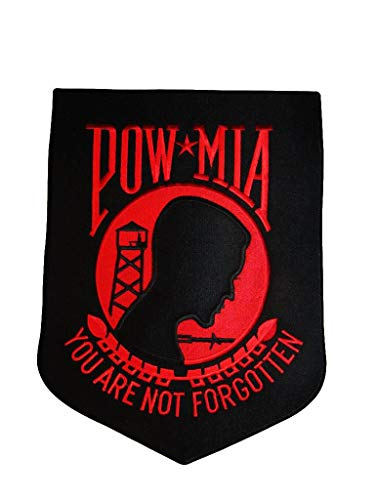 ALBATROS POW MIA Powmia Prisoner of War Missing Action 9ftx12ft Black with Red Iron On Patch for Home and Parades, Official Party, All Weather Indoors Outdoors