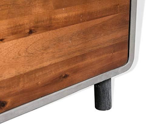 vidaXL Solid Acacia Wood Nightstand Concrete Bedroom Bedside Table 2 Drawer