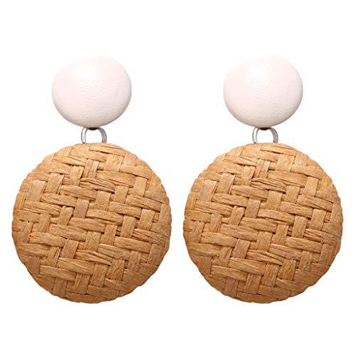 Fashion Women Earrings LODDD Bohemian Style Wood Bamboo Rattan Geometric Round Earrings Ladies Jewelry Accessories (Gauge Converter Earring)