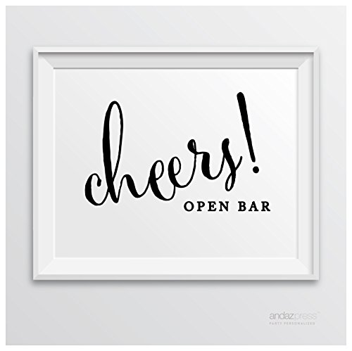 Andaz Press Wedding Party Signs, Formal Black and White, 8.5-inch x 11-inch, Open Bar Cheers!, 1-Pack, For 21st Birthday, Engagement Party, Bridal Shower Decor (Personalized Shower Bar Chocolate Bridal)