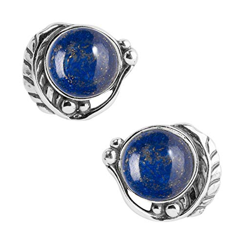 American West Sterling Silver & Gemstone Button Earrings - Classics Collection (Blue Lapis) ()