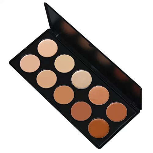 Amazing2015 Pro Mixed 10 Color Cream Concealer Palette Foundation Makeup Set Cover Speckled Freckle Face Contouring Kit